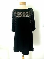 LOVELY M MISSONI ITALY BLK LINEN MACRAME EYELET EMBROIDERY DETAILS DRESS SMALL
