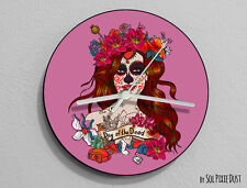 Pink Sugar Skull - Day of the Dead -Dia de Los Muertos - Calavera - Wall Clock