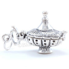 3D MAGIC LAMP Charm Pendant Moveable 925 Aladdin Genie Sterling Silver OPENS