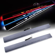 2x Illuminated Flash LED Light Door scuff Sill Plates for 2015 2016 Ford Mustang