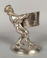 Antique Unmarked Silverplate Figural Toothpick Match Holder - Winemaker