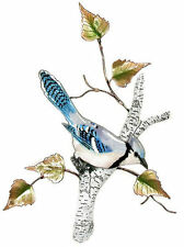 Blue Jay on Birch Metal Bird Wall Art Sculpture by Bovano of Cheshire #W4178