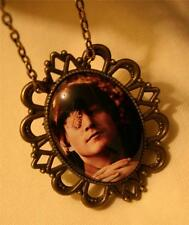 Handsome Festooned John Lennon Flower Power Cameo Brasstone Necklace & Brooch