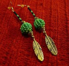 Native American Indian - Beaded with Feather Sterling Silver Earrings