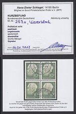 Federal 259 x viererblock examinado con sello hallazgo Heuss arriba 1 diente angetrennt