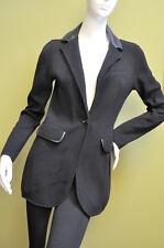 Ralph Lauren Black Cotton Faux Leather Trim Jersey Coat Jacket Blazer Size XXL