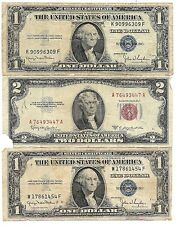 100% Old Antique Rare 1935 1957 US Silver Certificate Lot 1953 $2 Dollar Bill