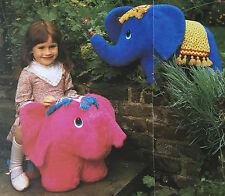 Sewing pattern jean greenhowe assis sur éléphant jouet chaise 2 tailles 47cm 67cm rare