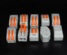 10 x Spring Lever Electric Terminal Block Cable Connector 2 Way Bornier 2 voies