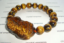 Feng Shui - 2015 Tiger Eye Mantra Pi Yao Bracelet (12mm beads)