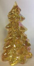 Christmas Holiday Tree - Honey Carnival Glass - Mosser USA - Large 8""