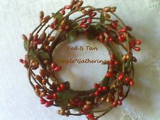 "One 2"" Pip Berry Taper Candle Ring ~  RED & TAN Pips, Primitive, Christmas"