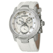 "NWT $6900 TECHNOMARINE LADIES WHITE ""UF6"" DIAMOND CHRONO YACHTING XLARGE WATCH"
