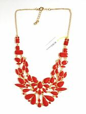 NEW BCBGeneration BCBG RED BIB NECKLACE GOLD COLOR ADJUSTABLE WOMENS JEWELRY