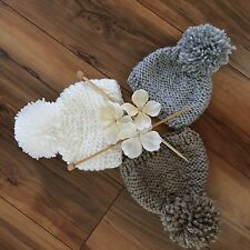 New Handmade Knitted Baby Boy Girl Pom Pom Beanie Hat Cap Gray 12m
