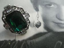 Vintage art deco más impresionante anillo como Esmeralda diamantes teatro joyas
