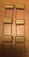 6 PCS 0.033uF / 630V ITT PMT/2R POLYPROPYLENE CAPACITORS. NOS. GOOD FOR AUDIO
