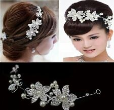 Tiara Diadem Flowers Beads Petals Hair Jewelry Headpiece Bridal Strass Wedding
