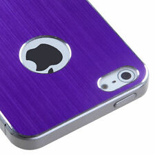 For Apple iPhone 5 5S SE Purple Brushed Metal Decal Shield Phone Cover Accessory
