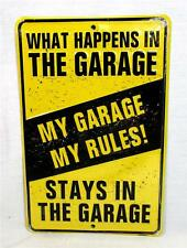 My Garage My Rules What Happens in the Garage Metal Novelty Sign Tool Shop