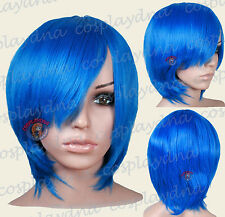 16 inch Hi_Temp Dark Blue Long Layer Bob Cut  Short Cosplay DNA Wigs 65512