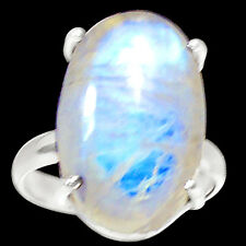 Rainbow Moonstone 925 Sterling Silver Ring Jewelry s.7 RR13773