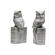 Set of 2 Grey Dolomite Owl Bookends Shelf Book Ends Ornaments Home Art Deco