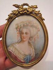 Antique French Miniature Portrait of Princess Maria Theresa 18th Century
