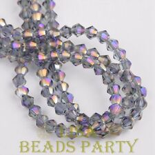 Hot 100pcs 4mm Bicone Faceted Crystal Glass Loose Spacer Beads Bulk Purple