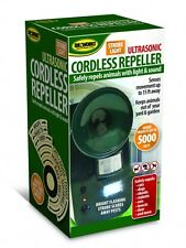 Cordless Ultrasonic Pest Repeller With Strobe Light Repels Animals Dogs Garden