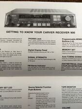 "Carver 900 The Receiver ""Original"" Owners Manual 13 Pages"