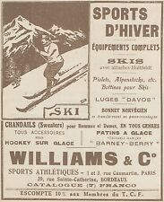 Z9587 WILLIAMS & C. - Skis - Sports d'Hiver -  Pubblicità d'epoca - 1921 Old ad