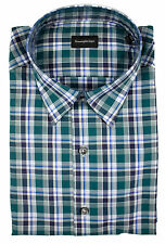 New ERMENEGILDO ZEGNA Green Plaid Classic Fit Shirt 15 40 M NWT $375!