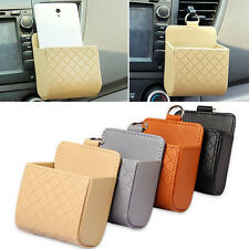 Leather Car Holder Storage Boxes Auto CellPhone Charger Cradle Pocket Organizers
