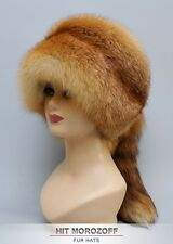 Davy Crockett Red FOX Fur Winter Hat tail Chapka Pelzmütze Fellmütze Fuchs Mütze