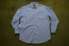 Ben Sherman Men's Medium 15 1/2 32-33 Light Blue White Collar Cotton Dress Shirt