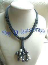 """15rows 17.5"""" freshwater pearl black gray egg necklace"""