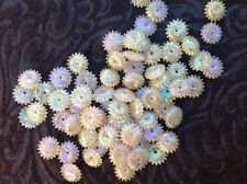 SALE VINTAGE CELLULOID SEQUINS Sunburst FLOWER STAR Ivory Iris Hollow Paillettes
