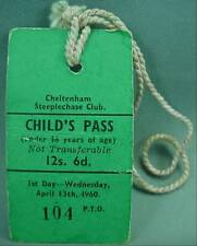 Cheltenham Steeplechase Club Childs Day Pass Badge April 13 1960 Horse Race Hunt