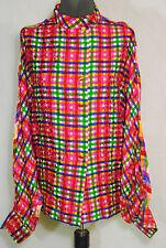 CHANEL BOUTIQUE Vintage 1980s 100% Silk Plaid Dolman Sleeve Blouse Top sz 40