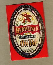 BUDWEISER ON TAP BEER ADVERTISEMENT FOLDING TABLE TENT - VINTAGE 1972 RARE