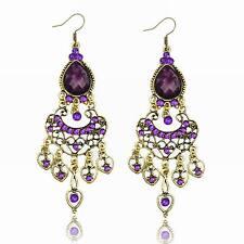 Vogue Purple Resin Heart Crystal CZ Drop Tassel Cocktail Dangle Hook Earrings