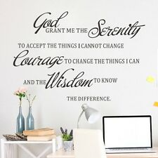 God Serenity Art Mural Removable Vinyl Quote Decal Wall Stickers Home Decor