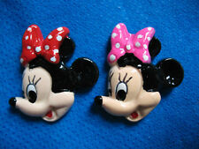 5x 1 INCH FLAT BACK RESIN MINNIE MOUSE RED + PINK EMBELLISHMENTS CASE HEADBAND