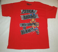 Tee Shirt BOYS Red SKATEBOARD Stick Around I Need Someone to Blame 2XL 18-20