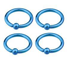 """1 Pair (2) Titanium Plated Neon Captive Rings 14g 3/8"""" 3mm Balls Ear Lip BLUE"""