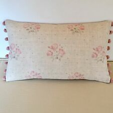 """NEW Kate Forman Kitty Pink Linen Fabric 20""""x12"""" Pom Pom or Piped Cushion Cover"""