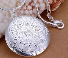925 Sterling Silver Round Butterfly Photo LOCKET Pendant Charm Necklace Chain