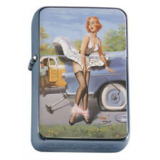 Windproof Refillable Fliptop Oil Lighter Classic Vintage Model Pin Up Girl D-189
