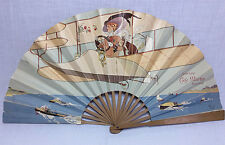Antique French advertising fan L.T. Piver perfume Cafe Martin Aviation Pompeia